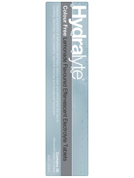 Hydralyte Effervescent Electrolyte Tablets Colour Free Lemonade 20 Tablets