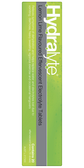 Hydralyte Effervescent Electrolyte Tablets Lemon Lime 20 Tablets