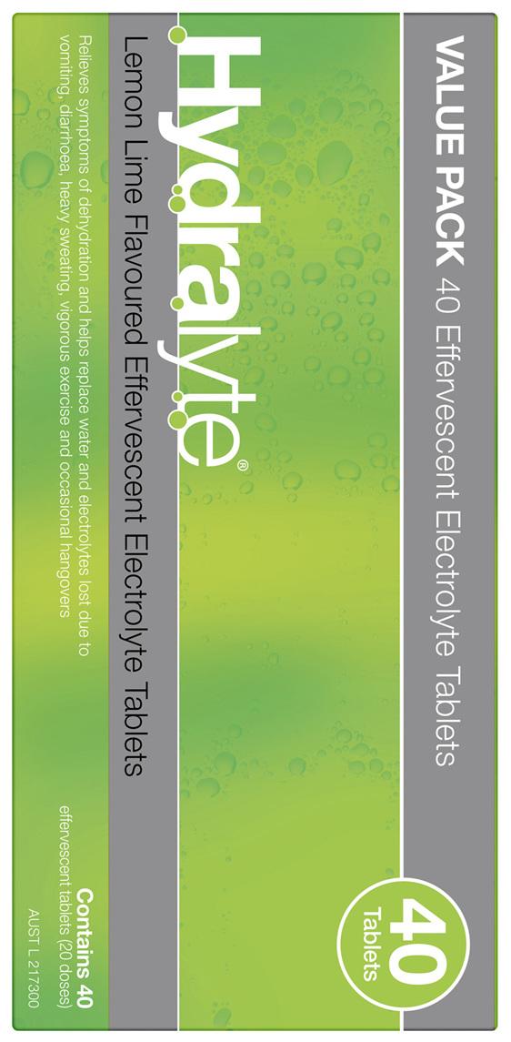 Hydralyte Effervescent Electrolyte Tablets Lemon Lime 40 Tablets