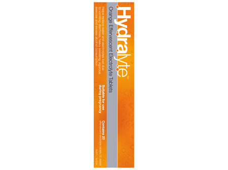 Hydralyte Effervescent Electrolyte Tablets Orange 20 Tablets