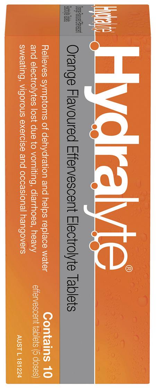 Hydralyte Effervescent Electrolyte Tablets Orange 10 Tablets
