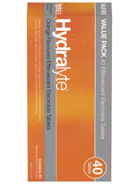 Hydralyte Effervescent Electrolyte Tablets Orange 40 Tablets