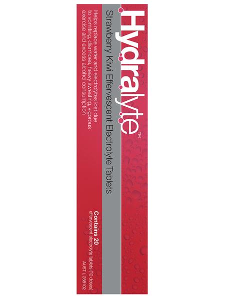Hydralyte Effervescent Electrolyte Tablets Strawberry Kiwi 20 Tablets