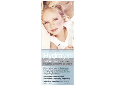 Hydralyte Electrolyte Ice Blocks Colourfree Lemonade 16 Pack