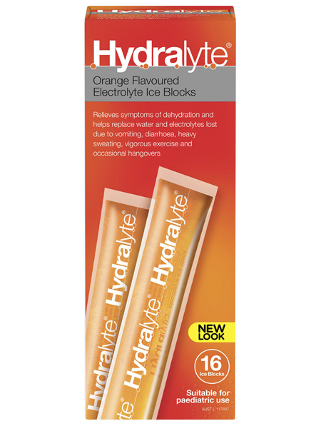 Hydralyte Electrolyte Ice Blocks Orange 16 Pack