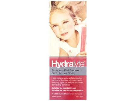 Hydralyte Electrolyte Ice Blocks Strawberry Kiwi 16 Pack