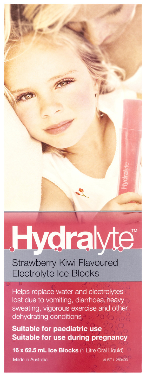 Hydralyte Electrolyte Ice Blocks Strawberry Kiwi 16 Pack