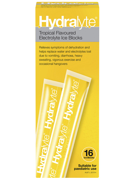 Hydralyte Electrolyte Ice Blocks Tropical 16 Pack