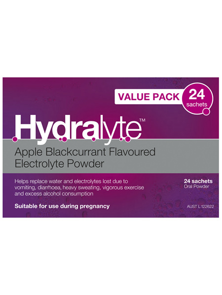 Hydralyte Electrolyte Powder Apple Blackcurrant 24 Pack