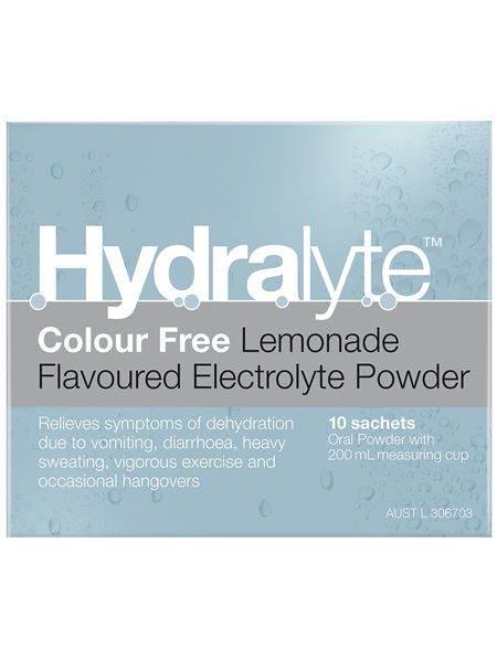 Hydralyte Electrolyte Powder Colourfree Lemonade 10 Pack