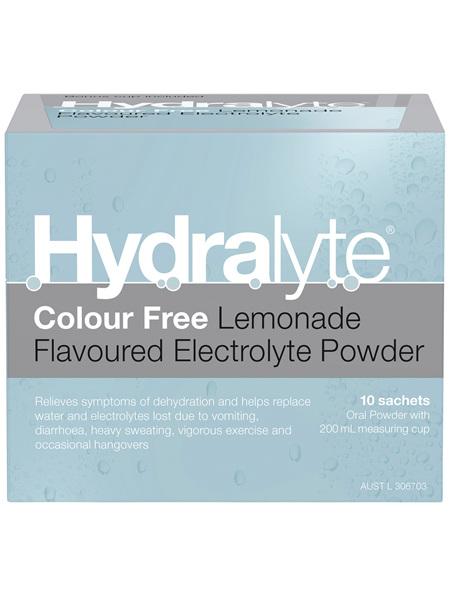 Hydralyte Electrolyte Powder Colourfree Lemonade 10 Pack