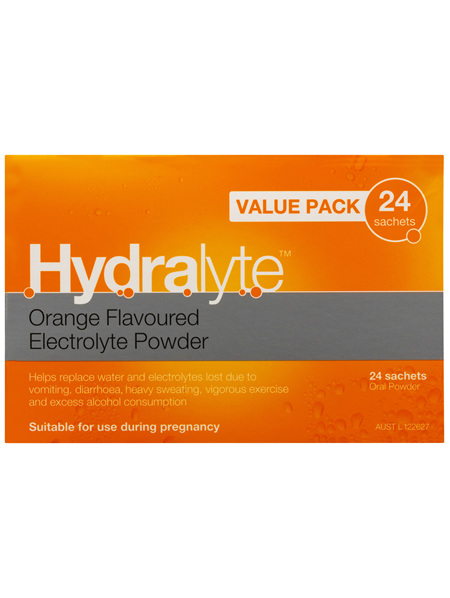Hydralyte Electrolyte Powder Orange 24 sachets