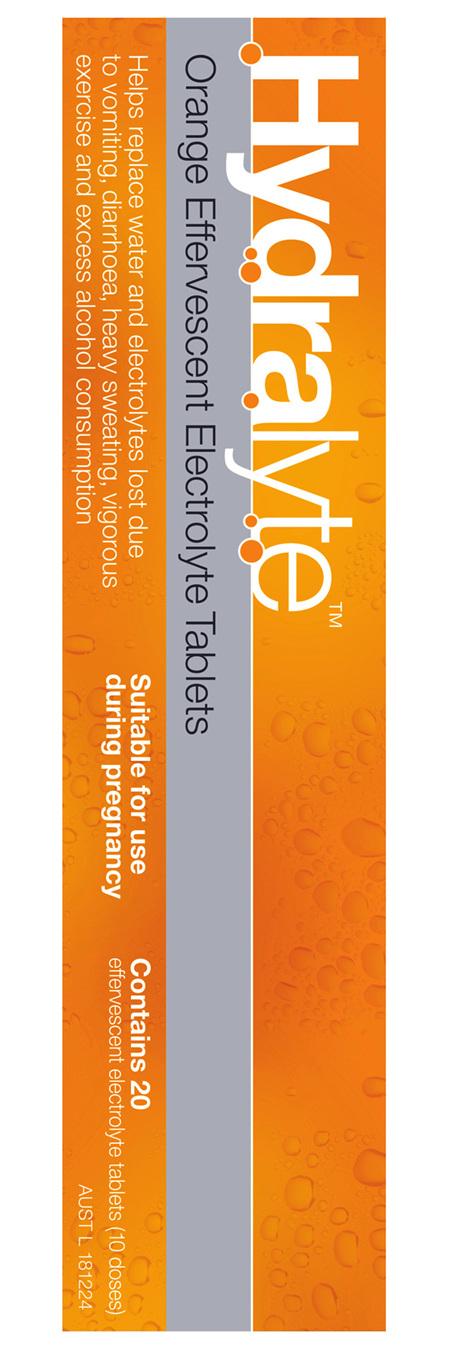 Hydralyte Orange Flavoured Effervescent Electrolyte Tablets 20 Pack