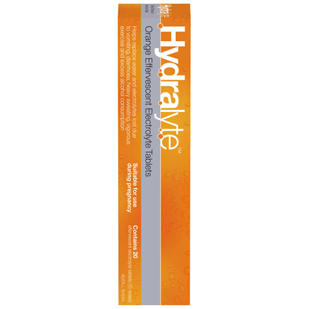 Hydralyte Orange Flavoured Effervescent Electrolyte Tablets 20 Pack
