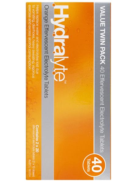 Hydralyte Orange Flavoured Effervescent Electrolyte Tablets 40 Pack