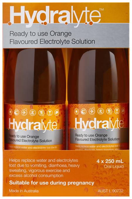 Hydralyte Orange Flavoured Electrolyte Liquid 4 x 250mL