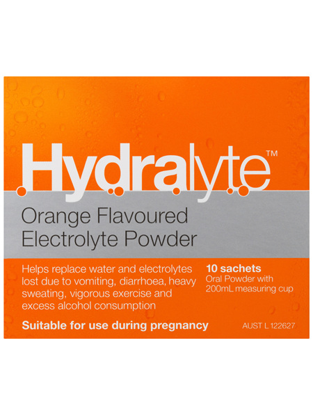 Hydralyte Orange Flavoured Electrolyte Powder 10 Pack