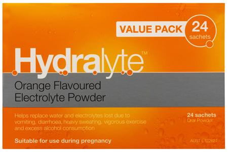 Hydralyte Orange Flavoured Electrolyte Powder 24 Pack