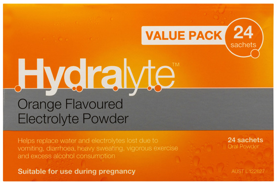 Hydralyte Orange Flavoured Electrolyte Powder 24 Pack