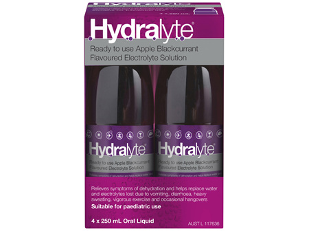 Hydralyte Ready to use Electrolyte Solution Apple Blackcurrant 4 x 250mL