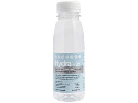 Hydralyte Ready to use Electrolyte Solution Colour Free Lemonade 250mL