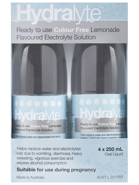 Hydralyte Ready to use Electrolyte Solution Colour Free Lemonade 4 x 250mL