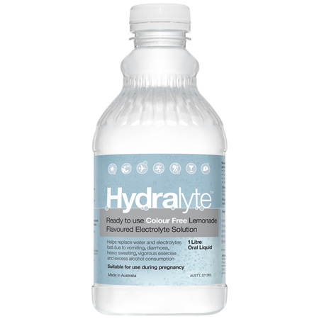 Hydralyte Ready to use Electrolyte Solution Colour Free Lemonade 1L