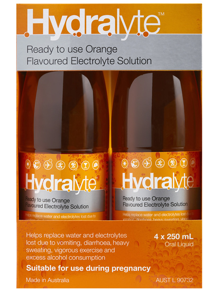 Hydralyte Ready to use Electrolyte Solution Orange 4 x 250mL