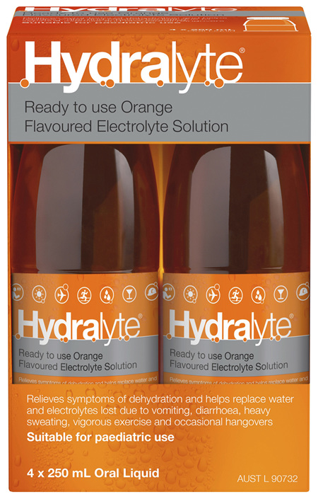 Hydralyte Ready to use Electrolyte Solution Orange 4 x 250mL