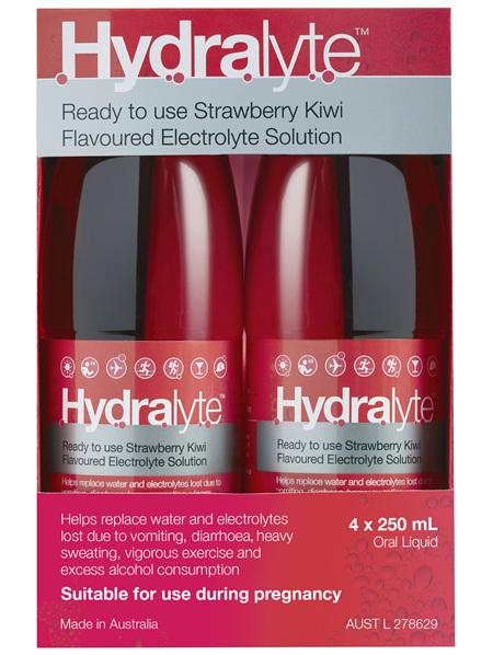 Hydralyte Ready to use Electrolyte Solution Strawberry Kiwi 4 x 250mL
