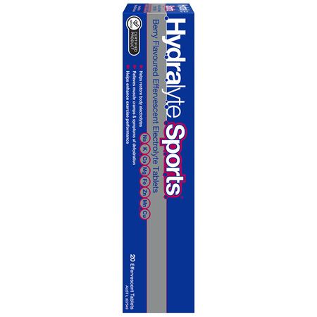 Hydralyte Sports Berry Effervescent Electrolyte Tablets 20 Pack