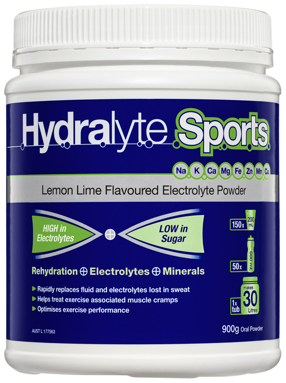 Hydralyte Sports Lemon Lime Flavoured Electrolyte Powder 900g