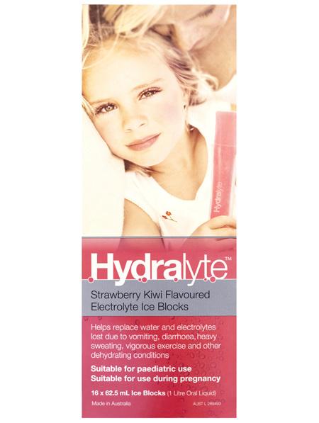 Hydralyte Strawberry Kiwi Flavoured Electrolyte Ice Blocks 16 x 62.5mL