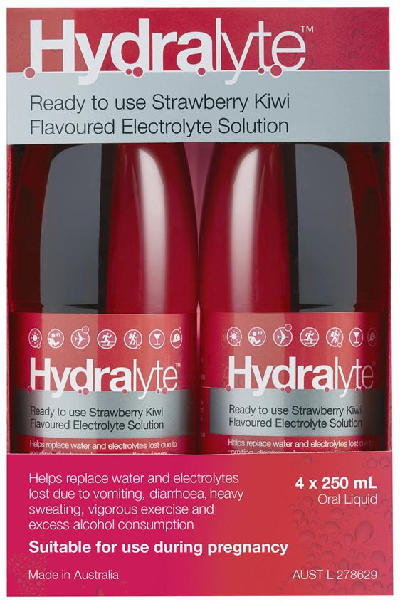 Hydralyte Strawberry Kiwi Flavoured Electrolyte Liquid 4 x 250mL