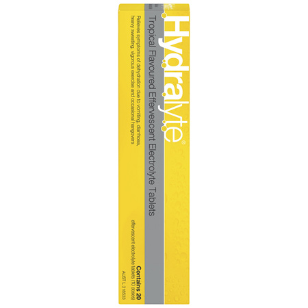 Hydralyte Tropical Flavoured Effervescent Electrolyte Tablets 20 Pack