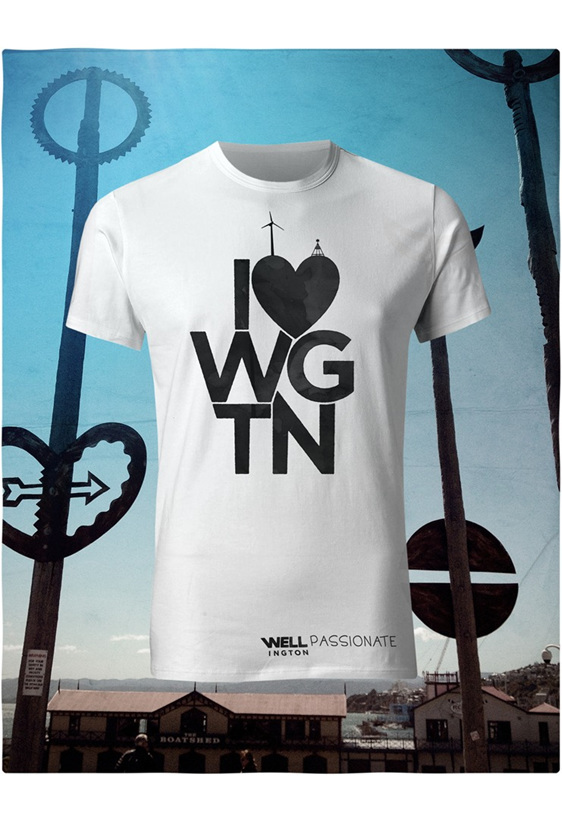 I love Wellington, black on white T-Shirt