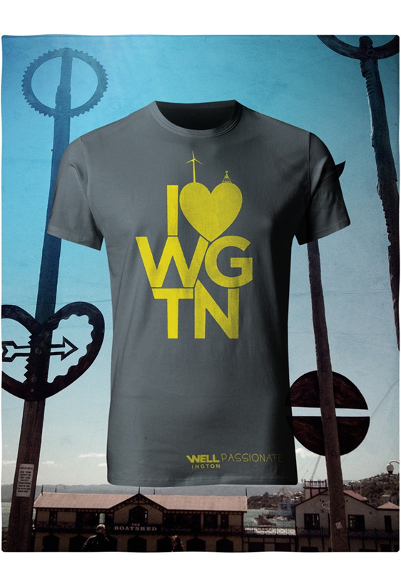 I love Wellington,  yellow on charcoal T-Shirt
