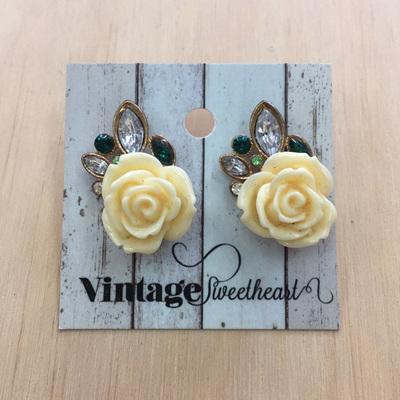 Icy Rose Stud Earrings - Cream WAS $19.90