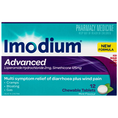 Imodium Advanced Chewable Tablets Mint 12 Pack