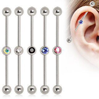 Industrial Barbell w/ Centre Gem Ball