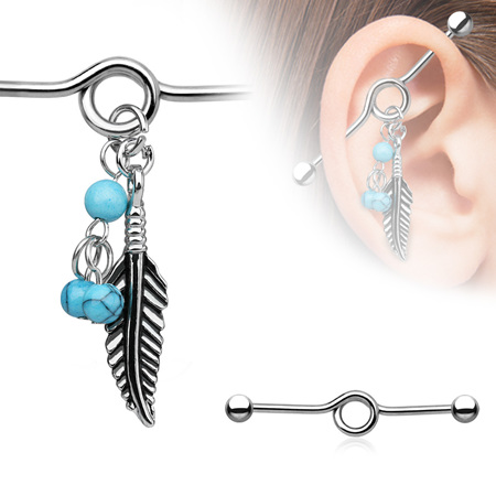 Industrial Barbell w/ Turquoise Beads & Feather Dangle