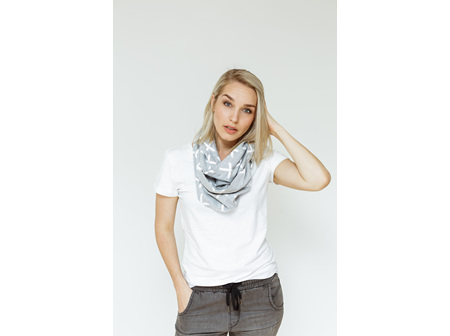 INFINITY SCARF GREY WITH FLORAL