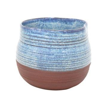 Inis Ceramic Planter - Blue Mottle - 14cmh