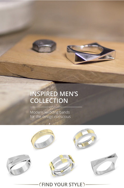 Inspired Men's Collection: Contemporary gold and platinum men's wedding bands