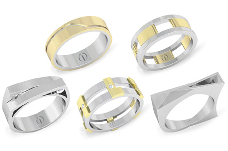 Inspired men's gold and platinum wedding bands