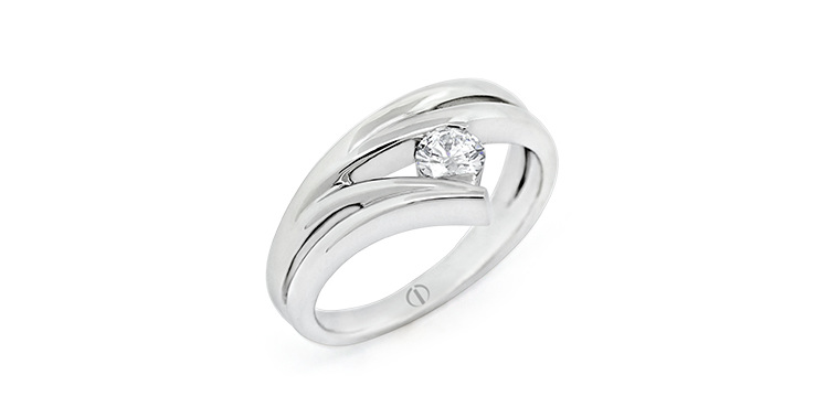 Inspired Waved Delicate Diamond Ring