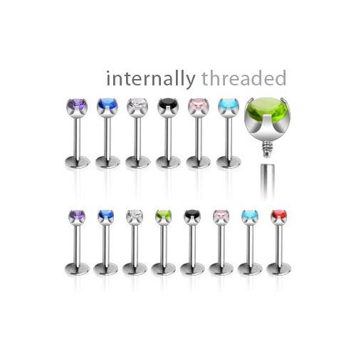 Internally Threaded 16g Prong Set Gem
