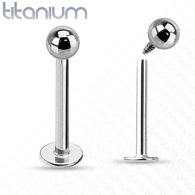 Internally Threaded Grade 23 Solid Titanium Labret