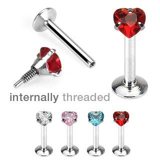 Internally Threaded Heart Top Gem Labret Bar