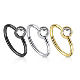 Ion Plated  Nose Ring with Single CZ